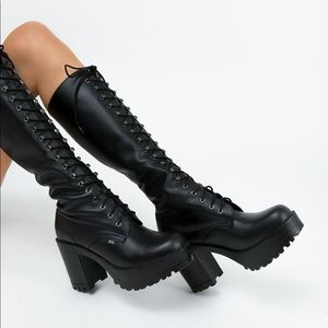 Brand New Black Leather Sexy Lace Roc Lash Boots